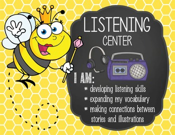 BEES - Classroom Decor: Center Signs, student cards