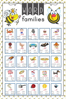 BEES - Classroom Decor: Language Arts, Word Families POSTER - size 24 x 36