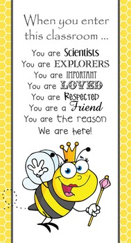 BEES - Classroom Decor: SMALL BANNER, When You Enter