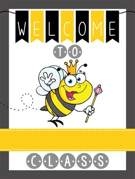 BEES - Classroom Decor: WELCOME Poster - 18 x 24, you personalize, Design A