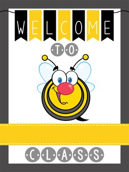BEES - Classroom Decor: WELCOME Poster - 18 x 24, you personalize, Design C