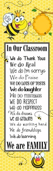 BEES - Classroom Decor: X-LARGE BANNER, In Our Classroom We are Family