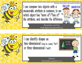 "BEES - Kindergarten Common Core Standards ""I CAN"" format / posters"