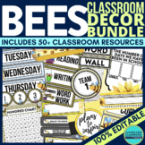 BEE THEME Classroom Decor - EDITABLE Clutter-Free Classroo