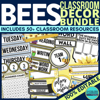 BEE THEME Classroom Decor - EDITABLE Clutter-Free Classroo
