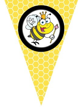 BEES - Triangle Banners, EDITABLE