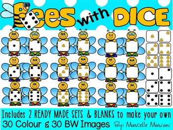 BEES WITH DICE- BEES CLIP ART