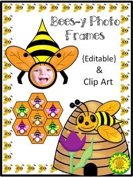 Back to School BEE Photo Frames Clip Art {Editable}