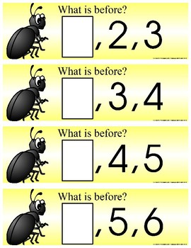 BEETLE BUG -  Numbers   What Comes Next - 21 Activity cards