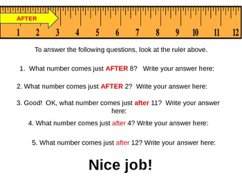 BEFORE & AFTER Lesson Using Numbers