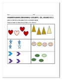 BEGINNING CONCEPTS: STUDENTS IDENTIFY TRAITS IN SHAPES/PICTURES:  ESL, SPANISH