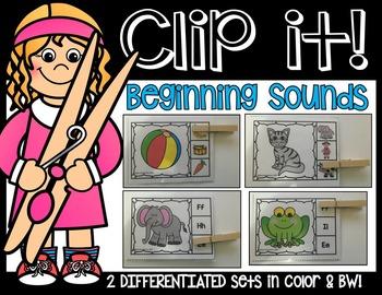 BEGINNING SOUNDS PHONEMIC AWARENESS LITERACY CENTER- CLIP IT