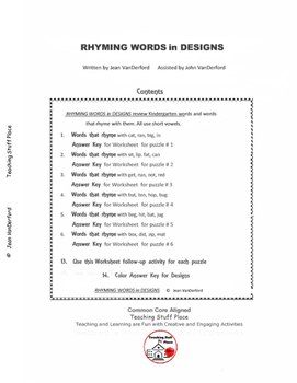 RHYMING Sight Words | Geometric Designs | Color | K-1 Vocabulary | NO PREP