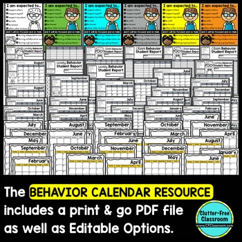 BEHAVIOR CALENDARS AND TRACKING SHEETS for CLASSROOM MANAGEMENT