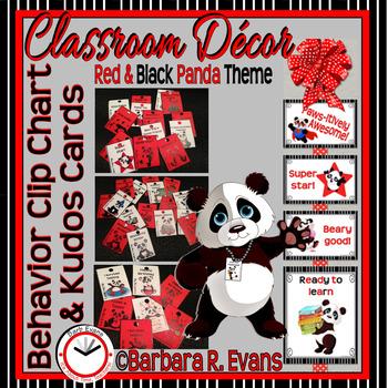 BEHAVIOR CLIP CHART & BRAG TAGS: Red & Black Pandas, Classroom Decor