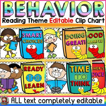 EDITABLE BEHAVIOR CLIPCHART: CLASS DECOR: READING THEME