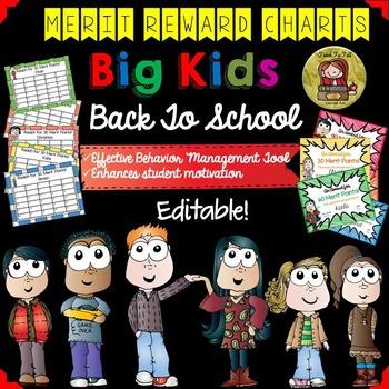 BEHAVIOR MANAGEMENT BIG KIDS REWARD CHARTS {EDITABLE BACK