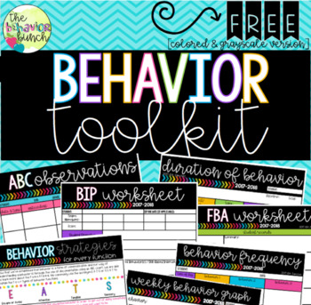 Behavior Toolkit: ABC/FBAs/BIPs & Data Tracking Forms [FREEBIE]