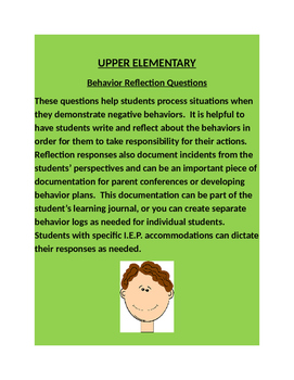 BEHAVIOR REFLECTION QUESTIONS -Upper Elementary