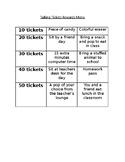 BEHAVIOR REWARDS! (List of Rewards for Ticket Behavior System)