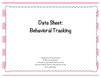 BEHAVIOR TRACKING - quick and easy data collection for the classroom!