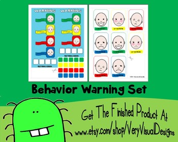 BEHAVIOR WARNING CHART SET pEcS PiCtUrE cArDs autism asd speech aba therapy