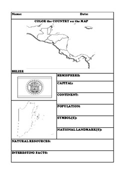 BELIZE COUNTRY RESEARCH WORKSHEET