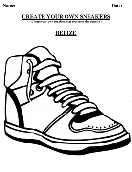 BELIZE Design your own sneaker and writing worksheet