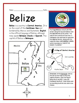 BELIZE - Printable handout with map and flag