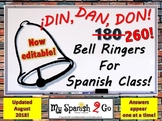 BELLRINGERS:  260!  (Was 180) Bell Ringers for Middle or High School Spanish!