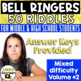 ELA Bell Ringers Riddles Brain Teasers | For Teens | Vol. #2 | EDITABLE