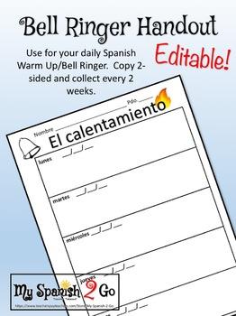 BELL RINGERS:  Weekly Printable Student Handout to Keep in Binders
