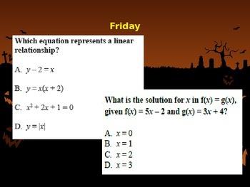 BELLWORK: PreAlgebra 8 --> Month of October