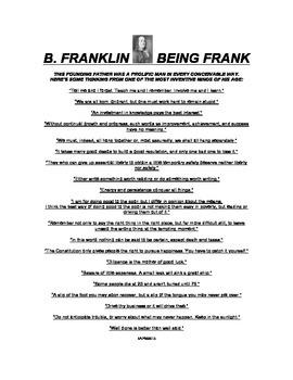 BEN FRANKLIN SPEAKS FRANKLY