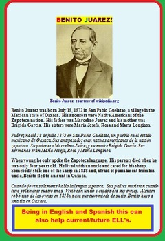 BENITO JUAREZ (SALE, FUN ACTIVITIES, SOC. STUDIES READING, TEST)