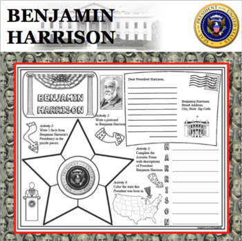 BENJAMIN HARRISON POSTER U.S. President Research Project Biography