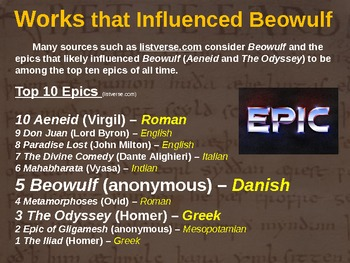 BEOWULF - (PART 1: WORKS THAT INFLUENCED BEOWULF) visual, interactive