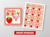 BERRY Glad Valentine Card, Strawberry Fruit Snack Square Tag, School Exchange