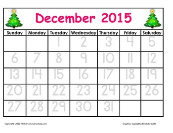 BEST 2015-16 Tracing Calendar (no dashed numbers!)