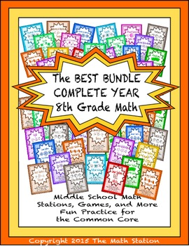 BEST BUNDLE COMPLETE YEAR Math Stations for Common Core Eighth Grade