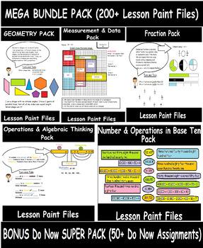 BEST DEAL: 4th Grade Math Visual Lesson Plans MEGA BUNDLE pack + DO NOW pack!