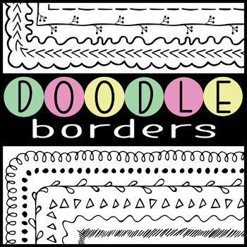 Page Borders and Frames HUGE Collection for Teachers Worksheets Doodle Clip Art