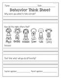Behavior Think Sheet-FREEBIE!