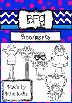BFG - Big friendly giant-bookmarks in black/white, Roald Dahl