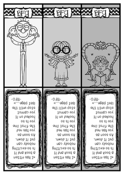BFG - Big friendly giant-bookmarks in black/white with quote, Roald Dahl