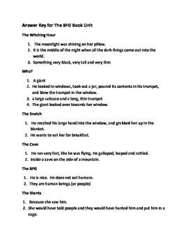 BFG Book Unit Answer Key