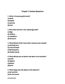 BFG - Roald Dahl adapted book - chapter summary - review questions