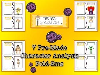 BFG by Roald Dahl Character Analysis Fold-Ems