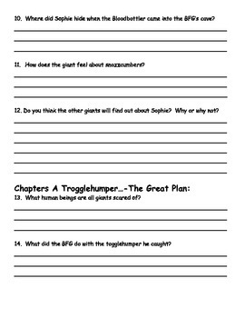 BFG by Roald Dahl Comprehension Packet