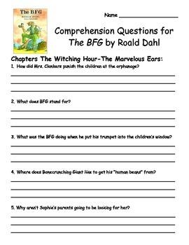 BFG by Roald Dahl Comprehension Packet